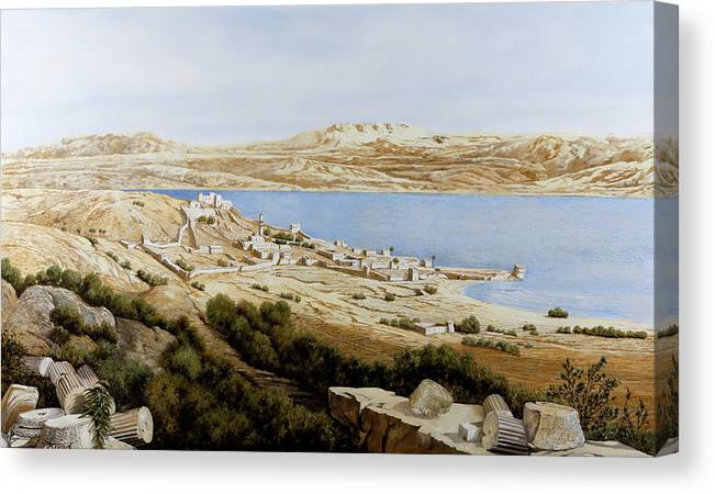 Tiberias Canvas Print featuring the painting rovine a Tiberiade by Guido Borelli