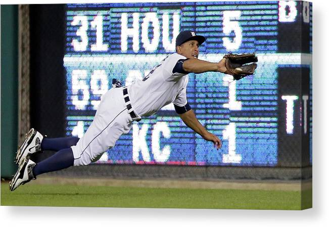 Ninth Inning Canvas Print featuring the photograph Anthony Gose And Ben Zobrist by Duane Burleson