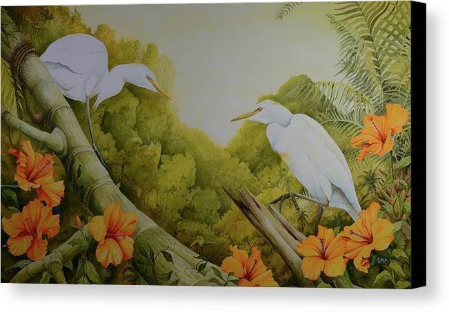 Birds Canvas Print featuring the painting Aloha Kakahiaka by Charles Owens