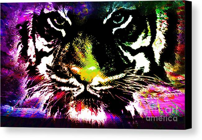 Tiger Canvas Print featuring the mixed media Colorful Tiger Abstract Grunge Face by Dori Marie Art By Design