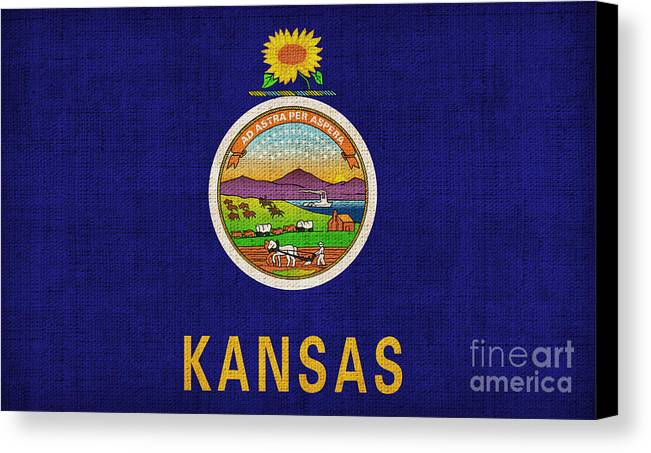 Kansas Canvas Print featuring the painting Kansas State Flag by Pixel Chimp