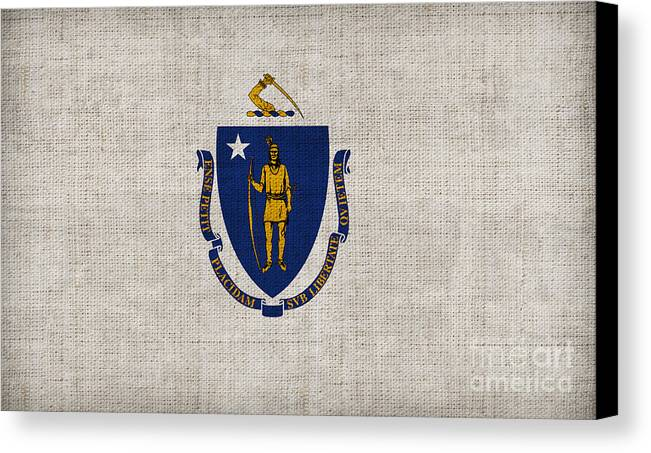 Massachusetts Canvas Print featuring the painting Massachusetts State Flag by Pixel Chimp