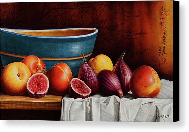 Fruit Canvas Print featuring the painting Peaches And Figs by Horacio Cardozo