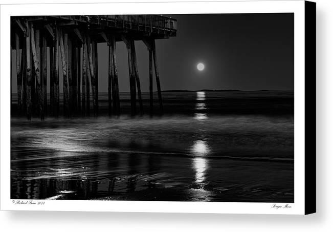 Beach Canvas Print featuring the photograph Perigee Moon by Richard Bean