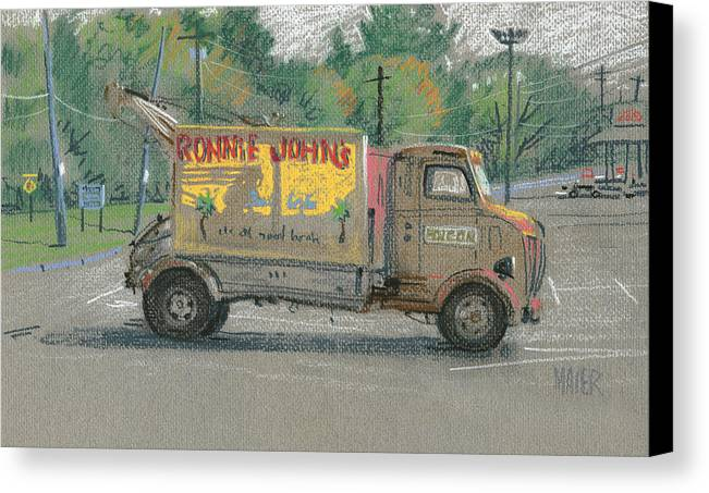 Truck Canvas Print featuring the painting Ronnie John's Beach Cafe by Donald Maier