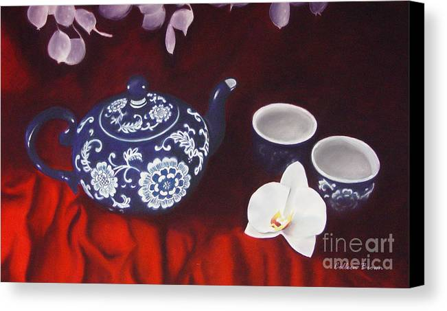 Still Life Canvas Print featuring the painting All The Tea In China by Colleen Brown