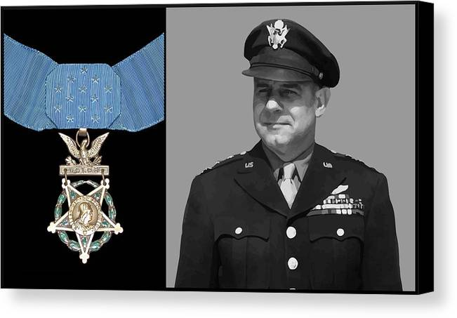 Jimmy Doolittle Canvas Print featuring the painting Jimmy Doolittle And The Medal Of Honor by War Is Hell Store