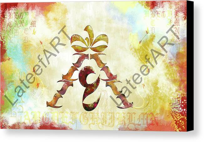 Calligraphy Canvas Print featuring the digital art Landing by Lateef Hassayn