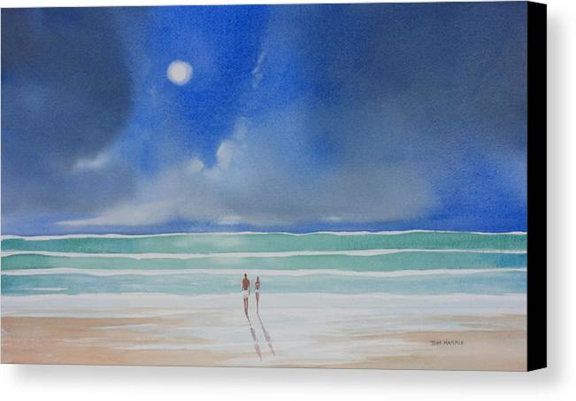 Moonlight Canvas Print featuring the painting Moonlight At The Beach II by Tom Harris