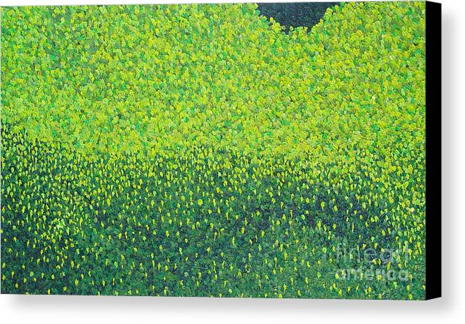 Abstract Canvas Print featuring the painting Soft Green Wet Trees by Dean Triolo