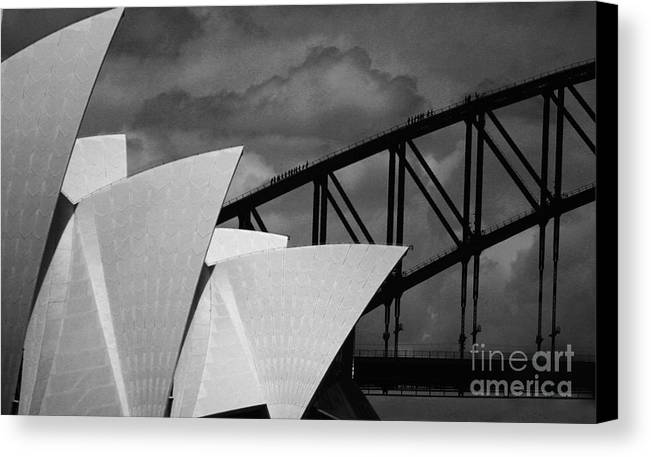 Sydney Opera House Canvas Print featuring the photograph Sydney Opera House With Harbour Bridge by Sheila Smart Fine Art Photography