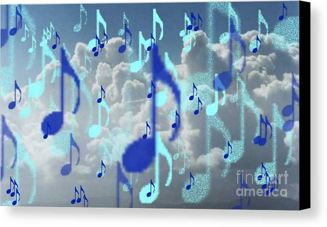 Canvas Print featuring the digital art The Greater Clouds Of Witnesses We Love The Blues Too by Brenda L Spencer