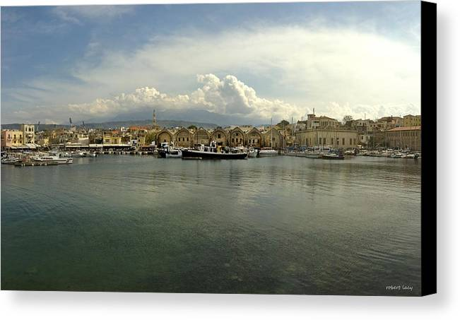Venetian Harbour Canvas Print featuring the photograph Venetian Harbour Hania by Robert Lacy