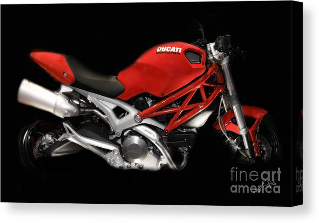 Motorcycles Canvas Print featuring the photograph Ducati Monster In Red by Kimxa Stark