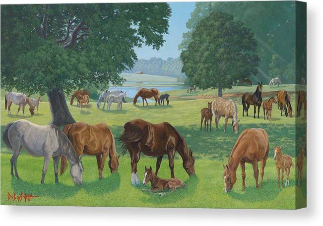 Landscape Canvas Print featuring the painting Happy Hollow Mares by Howard Dubois