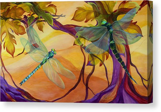 Vineyard Canvas Print featuring the painting Morning Flight by Karen Dukes