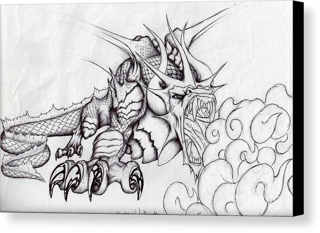 Dragon Canvas Print featuring the drawing Draconis Occidentalis by Gustavo Worthington