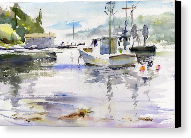 Maine York Harbor Fishing Boats Fog Waterscape Canvas Print featuring the painting Morning Fog by Gordon France