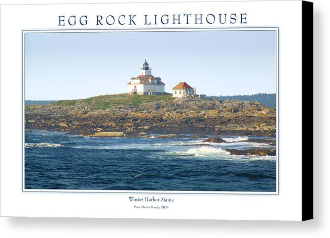 Landscape Canvas Print featuring the photograph Egg Rock Island Lighthouse by Peter Muzyka