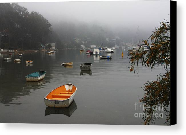 Mist Canvas Print featuring the photograph Careel Bay Mist by Sheila Smart Fine Art Photography