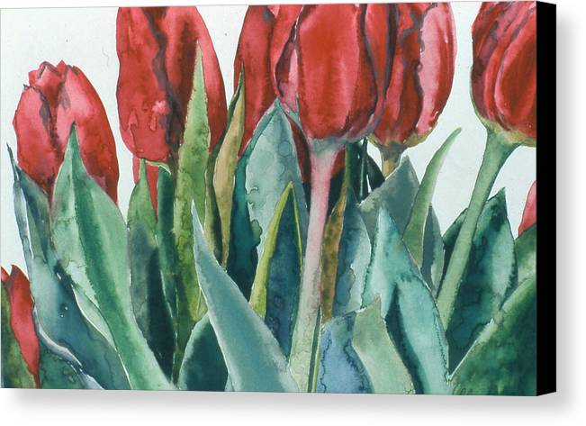 Floral Canvas Print featuring the painting Mini-valentine Tulips - 2 by Caron Sloan Zuger