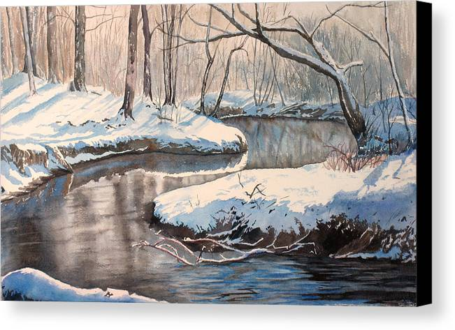 Snow Canvas Print featuring the painting Snow On Riverbank by Debbie Homewood
