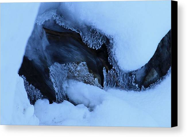 Ice Canvas Print featuring the photograph Window On Tangle Falls by Heather Oldcrankone