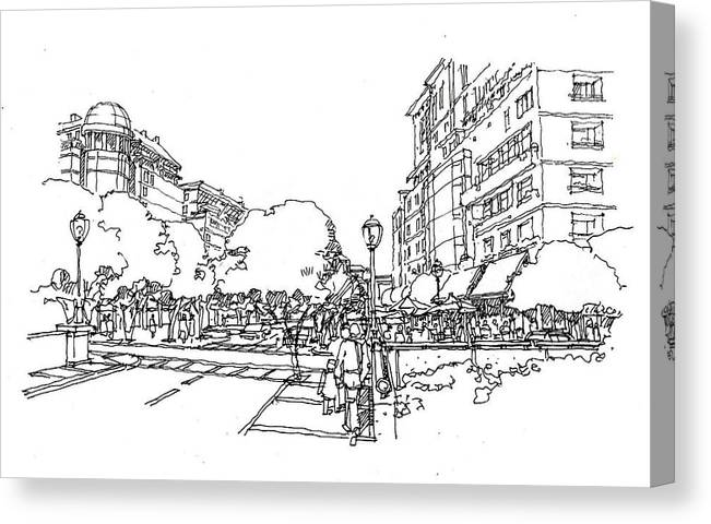 Simple Linework--streetscape Canvas Print featuring the drawing Main Street by Andrew Drozdowicz