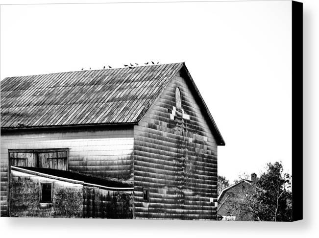 Black & White Canvas Print featuring the photograph Old Barn by Joseph Perno