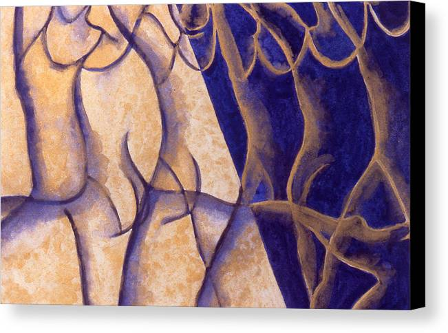 Watercolor Canvas Print featuring the painting Dancers - Study 12 by Caron Sloan Zuger