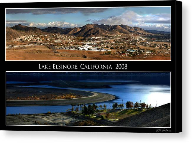 Landscape Canvas Print featuring the photograph Lake Elsinore 180 Degrees by Richard Gordon
