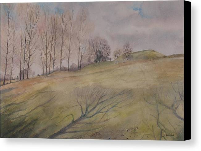 Shadows Canvas Print featuring the painting March Shadows by Debbie Homewood