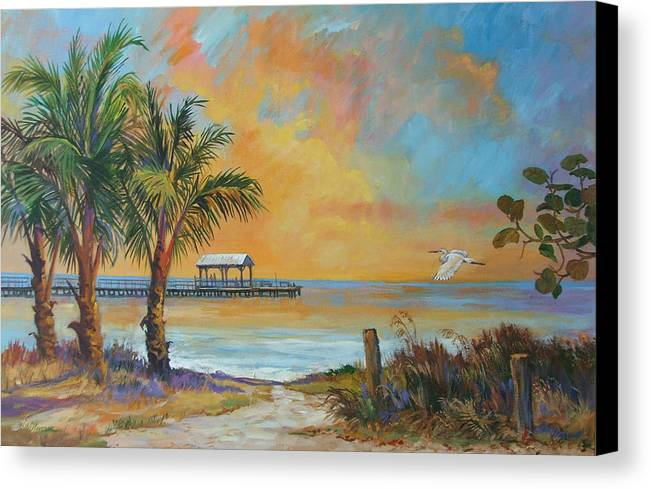 Beach Canvas Print featuring the painting Sunset Flight by Dianna Willman
