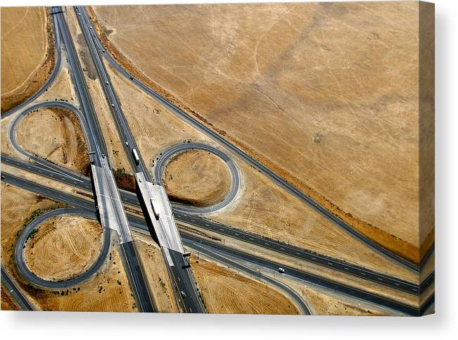 Aerial Photography Canvas Print featuring the photograph Freeway 1 by Sylvan Adams