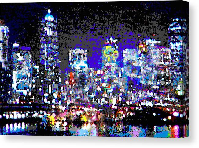 Seattle Canvas Print featuring the digital art Seattle Waterfront by Michael Moore