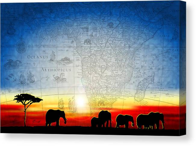 Elephant Canvas Print featuring the digital art Old World Africa Cool Sunset by Dana Bennett