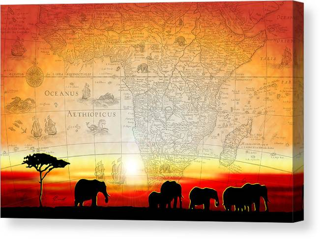 Elephants Canvas Print featuring the digital art Old World Africa Warm Sunset by Dana Bennett