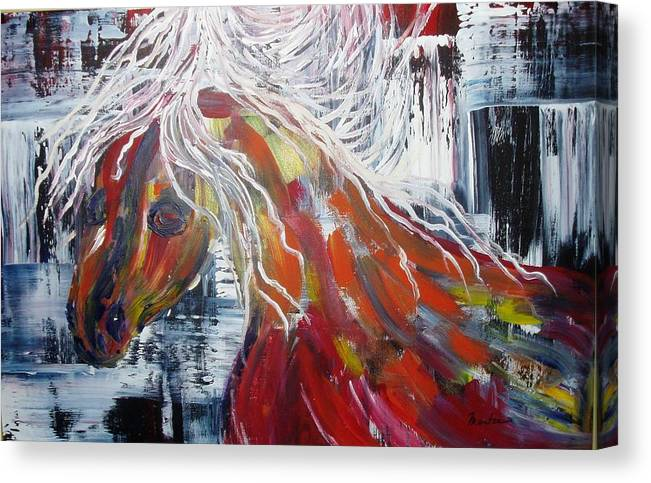 Horse Canvas Print featuring the painting White Mane by Maritza Bermudez