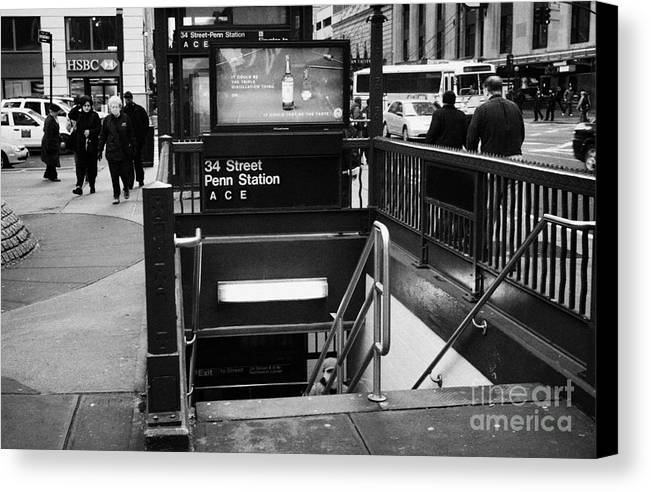 Usa Canvas Print featuring the photograph 34th Street Entrance To Penn Station Subway New York City by Joe Fox