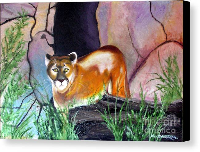 Big Cats Canvas Print featuring the painting Guarding The Cave by Lora Duguay