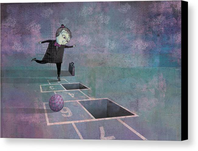 Dennis Wunsch Canvas Print featuring the digital art Hopscotch2 by Dennis Wunsch