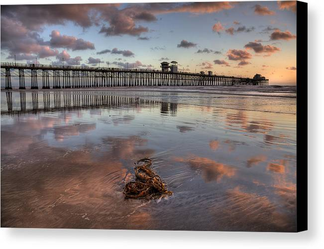 California Canvas Print featuring the photograph Oceanside Pier Seaweed by Peter Tellone