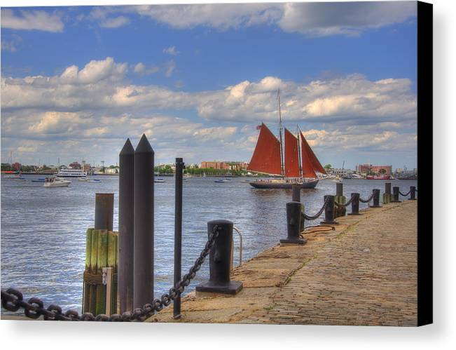 Sailing Canvas Print featuring the photograph Tall Ship The Roseway In Boston Harbor by Joann Vitali