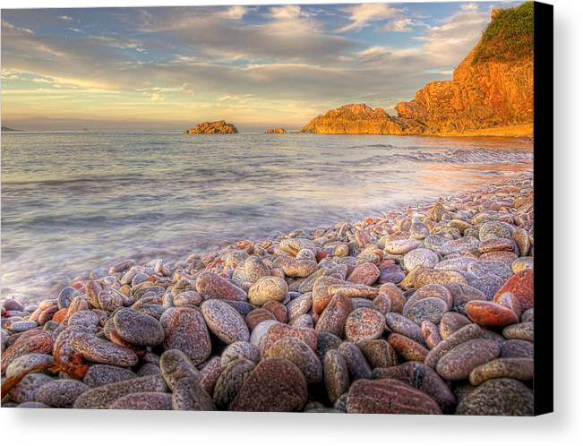 Brixham Canvas Print featuring the photograph Breakwater Beach by Phil Hemsley