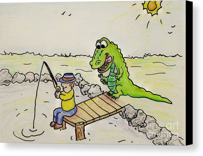 Cartoon Alligator Fisherman Fishing Sunshine Fish Gator Croc Crocodile Lunch Picinic Lake Grass Canvas Print featuring the drawing Fishing In Florida by Bruce Semon