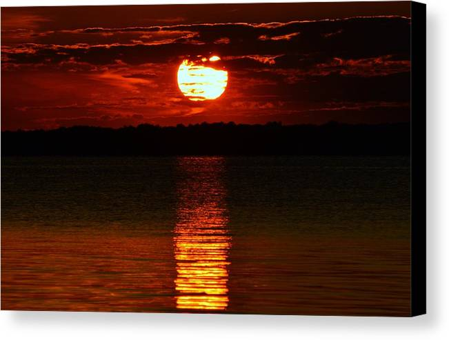 Sun Canvas Print featuring the photograph Multiline Sunset by William Bartholomew
