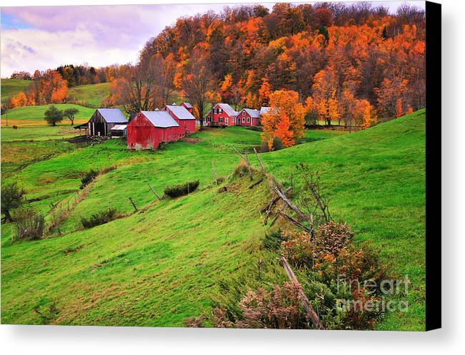 Jenne Farm Canvas Print featuring the photograph Reading Vermont - Jenne Farm Autumn by Expressive Landscapes Fine Art Photography by Thom
