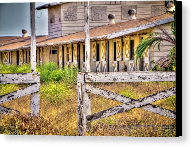 2011 Canvas Print featuring the photograph Abandoned Horse Stables by Connie Cooper-Edwards