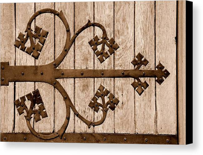 Sepia Canvas Print featuring the photograph Antique Hinge by Caroline Clark