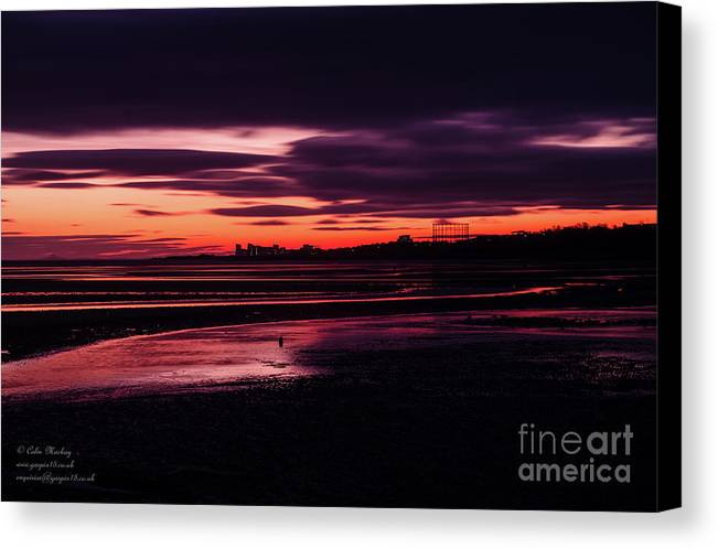 Landscapes Canvas Print featuring the photograph First Light At Granton, From Cramond by Colin Mackay
